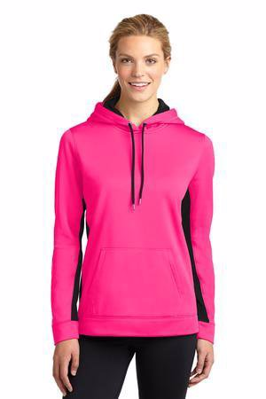 Sport-Tek Ladies Sport-Wick Fleece Colorblock Hooded Pullover. LST235