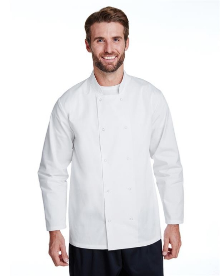 Unisex Studded Front Long-Sleeve Chef's Coat - RP665